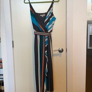 Loft-Vertical Multicolored Stripped Party Dress